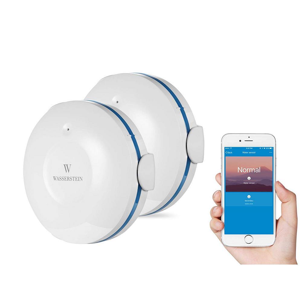 Smart Wi-Fi Water Sensor, Flood and Leak Detector Alarm and App Notification Alerts (2-Pack)