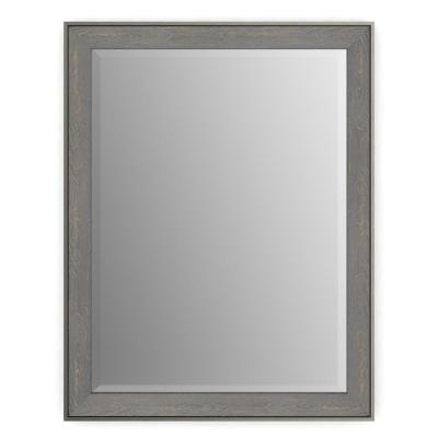 23 in. x 33 in. (S2) Rectangular Framed Mirror with Deluxe Glass and Float Mount Hardware in Weathered Wood
