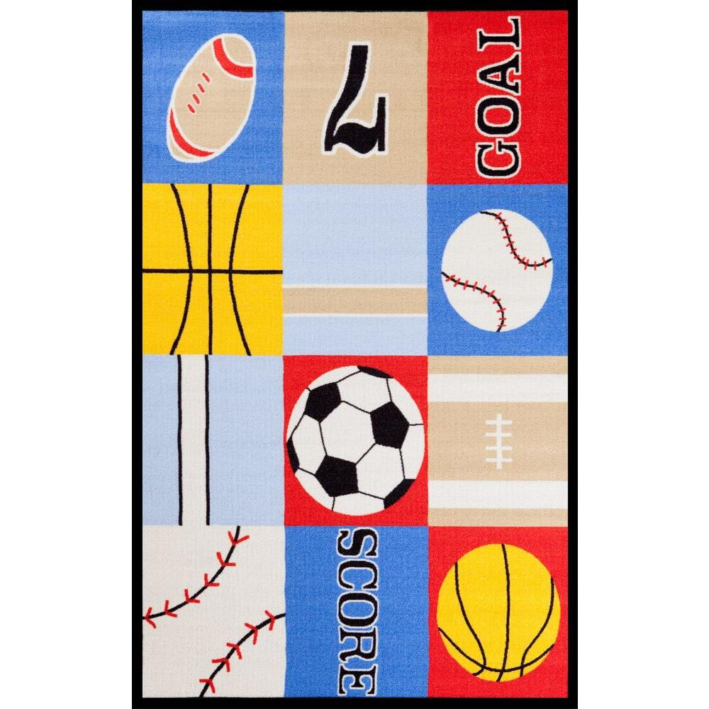 Fun Time Ball Games Multi 3 ft. 3 in. x 4 ft. 7 in. Area Rug