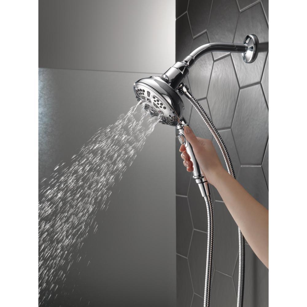 SureDock 7-Spray 5 in. Single Wall Mount Handheld H2Okinetic Shower Head in Chrome