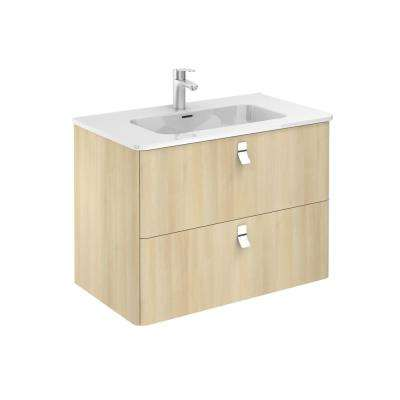 32 in. W x 18 in. D x 23 in. H Bathroom Vanity Unit in Nordic Oak with Vanity Top and Basin in White