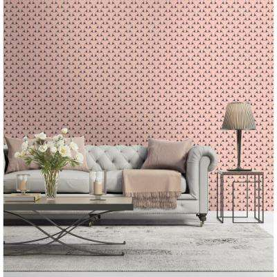 Art in Chaos Collection Island Weave in Bleached Coral and Plum Grey Premium Matte Wallpaper