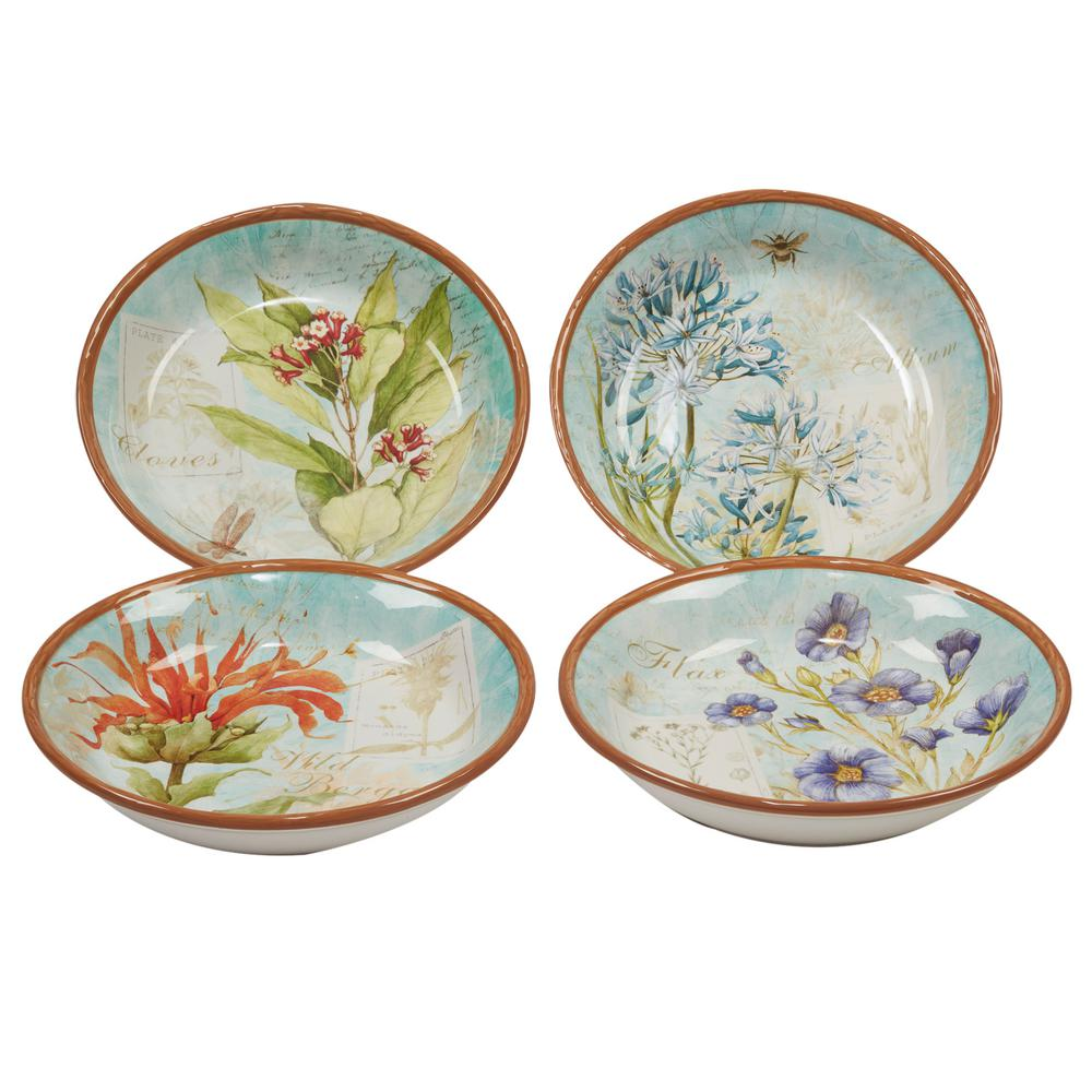 Herb Blossoms 4-Piece Multi-Colored 9.25 in. x 2 in. Soup/Pasta Bowl