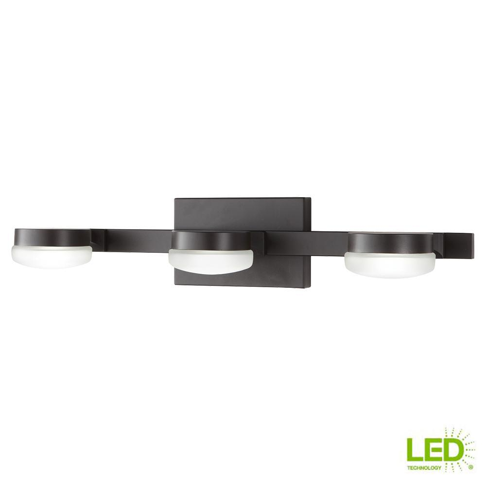 40-Watt Equivalent 3-Light Oil Rubbed Bronze Integrated LED Vanity Light with
