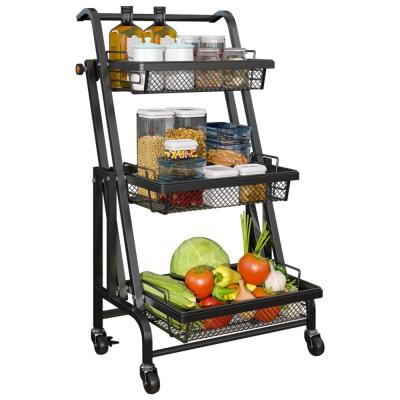 """CozyBlock 11.8"""" x 37.2"""" x 17.3"""" Black Steel 3-Tier Shelving Unit, Folding Wheeled Cart Organizer with Removable Baskets"""
