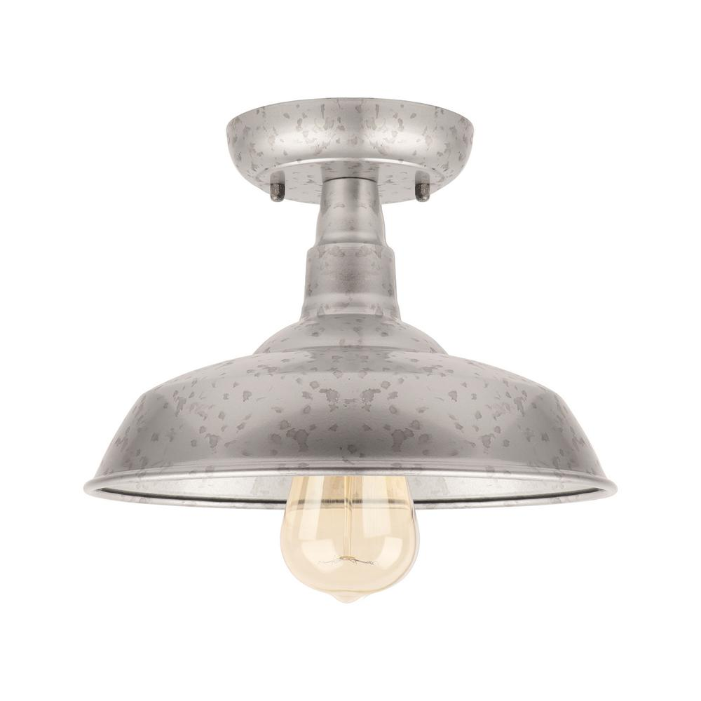 Unbranded 1 Light Galvanized Outdoor Semi Flush Mount Light El0500gv The Home Depot