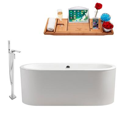 Tub, Faucet and Tray Set 67 in. Cast Iron Flatbottom Non-Whirpool Bathtub in Glossy White