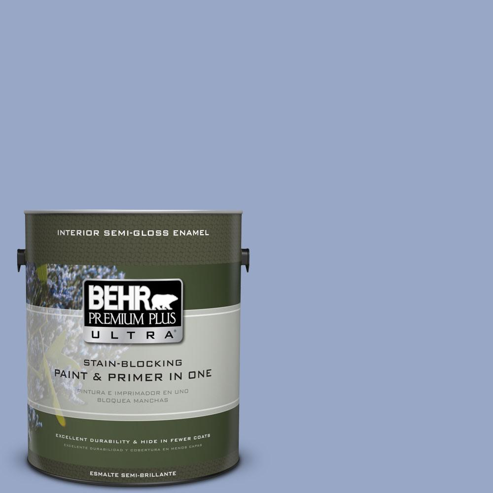 BEHR Premium Plus Ultra 1-gal. #PPU15-13 Blue Hydrangea Semi-Gloss Enamel Interior Paint