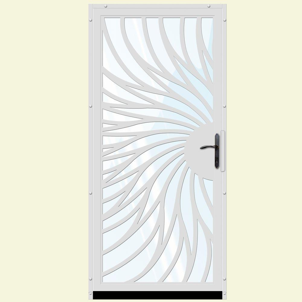 Unique Home Designs 36 in. x 80 in. Solstice White Surface Mount Steel Security Door with Shatter-Resistant Glass and Bronze Hardware