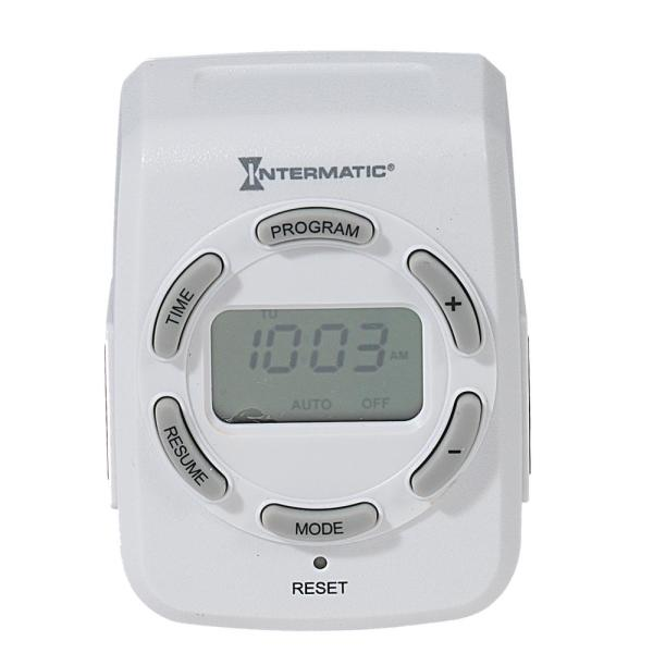 15 Amp 7-Day Indoor Plug-In Heavy-Duty Digital Timer with Two 3-Prong Plugs, White