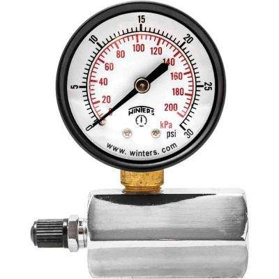 PETG Series 2 in. Gas Test Pressure Gauge with Test Valve Adapts to 3/4 in. FNPT and Range of 0-30 psi/kPa