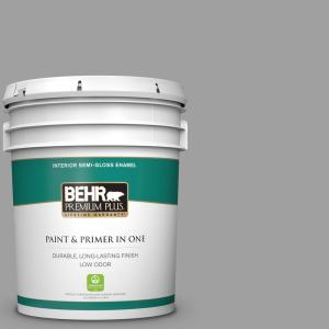 Behr Premium Plus 5 Gal T11 1 Grayve Yard Semi Gloss Enamel Low Odor Interior Paint And Primer In One 340005 The Home Depot