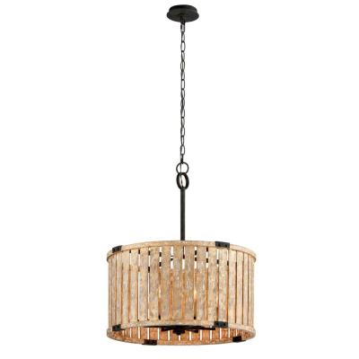 Stix 6-Light Antique Gold Leaf Pendant