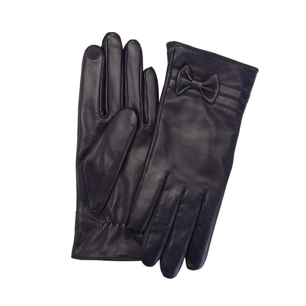 Premium Lambskin Women's Large Black Leather Touchscreen Gloves