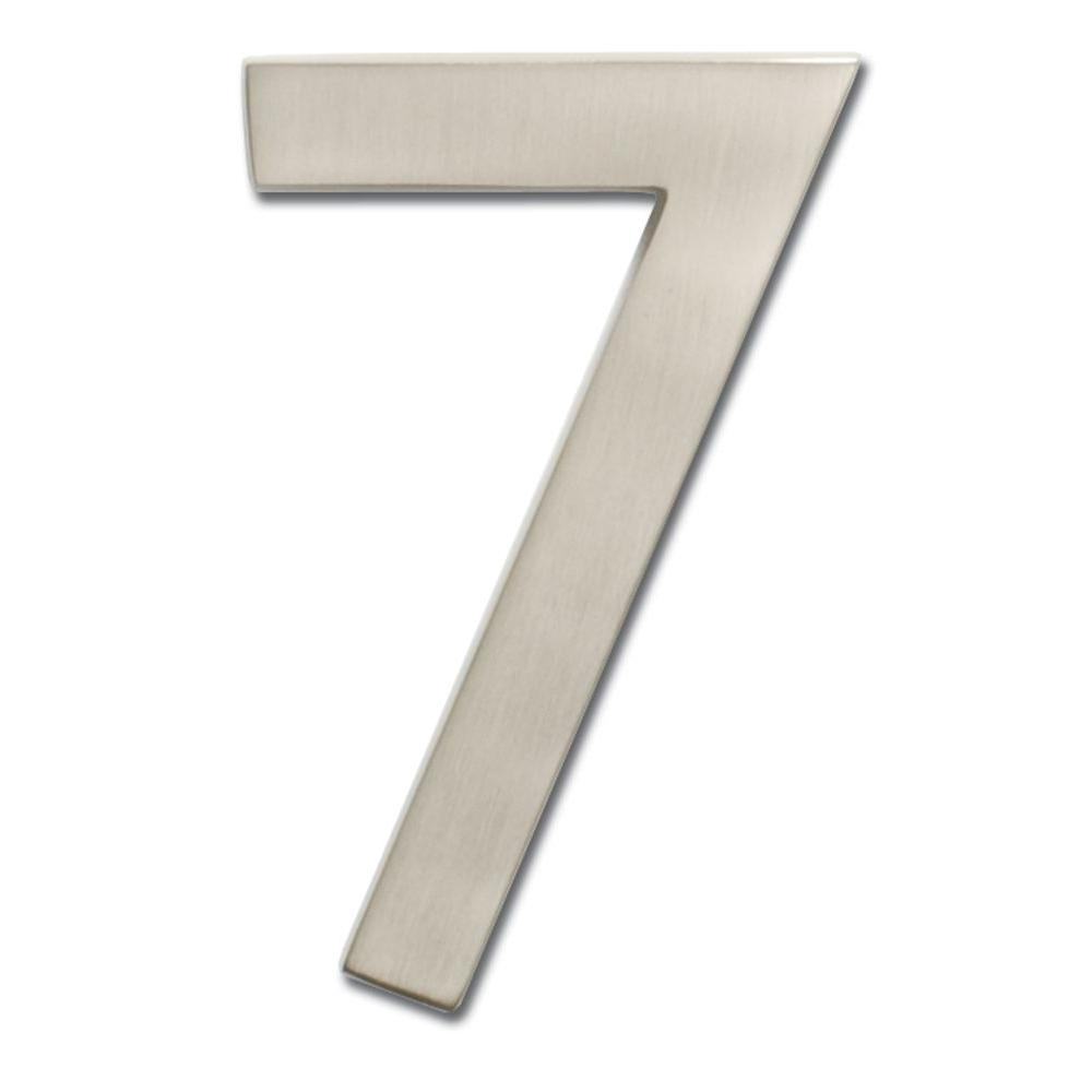 4 in. Satin Nickel Floating House Number 7
