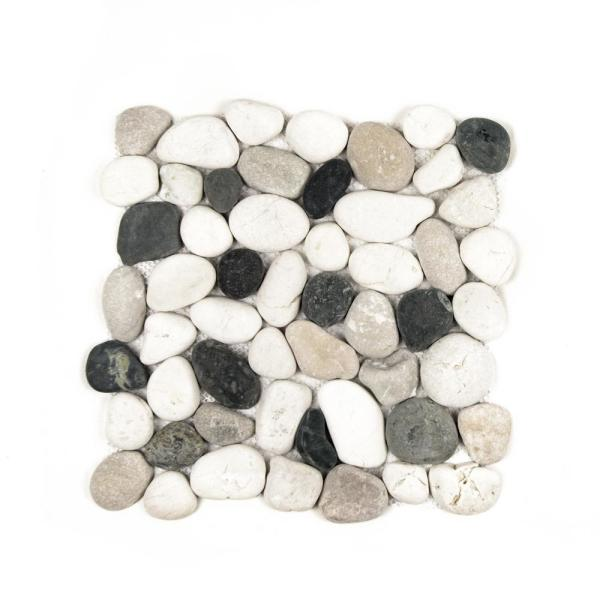 Classic Pebble White/Tan/Black 11-1/2 in. x 11-1/2 in. x 12.7mm Indonesian Mesh-Mounted Mosaic Tile (10.12 sq. ft./case)