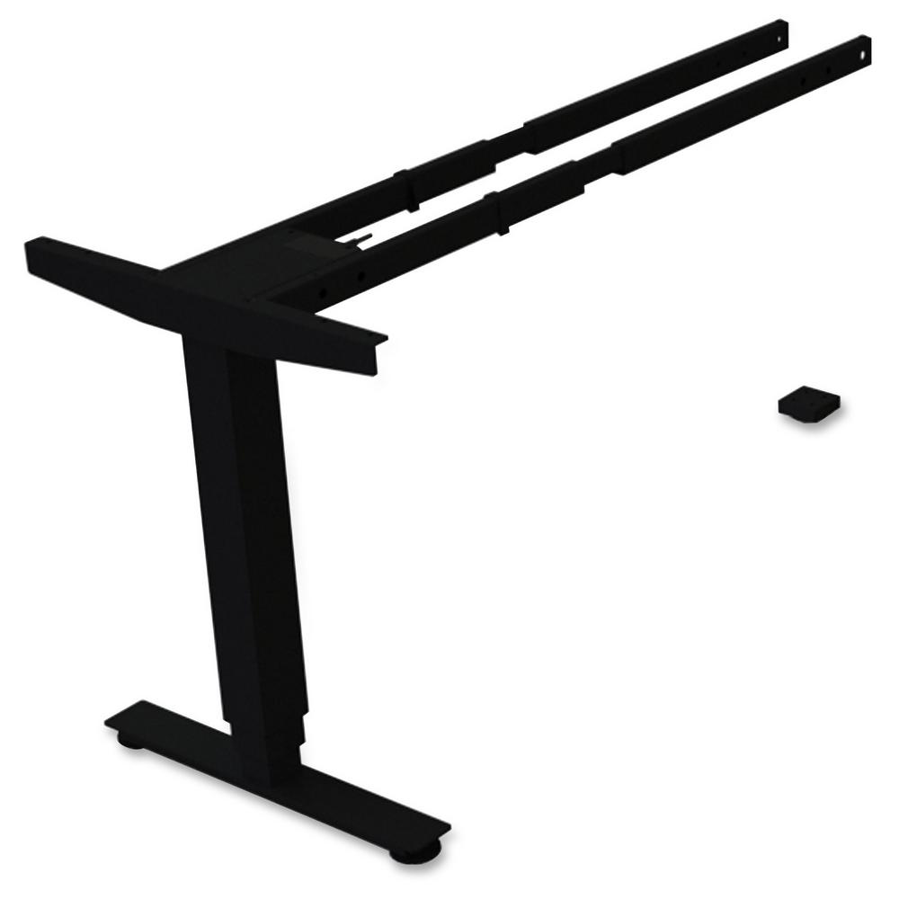 Lorell 24 in. x 44 in. x 27 in. Black 3-Tier Sit/Stand Desk Silver Third-leg Add-on Kit