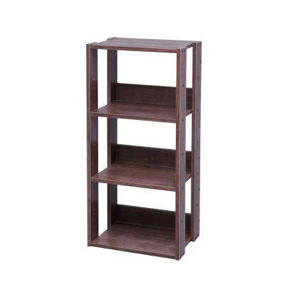 Mado Brown 3-Shelf Open Wood Shelving Unit