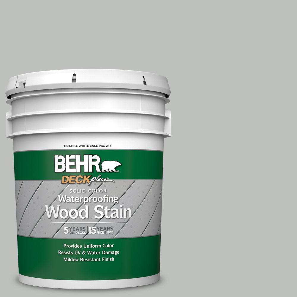 BEHR DECKplus 5 gal. #SC-365 Cape Cod Gray Solid Color Waterproofing Exterior Wood Stain