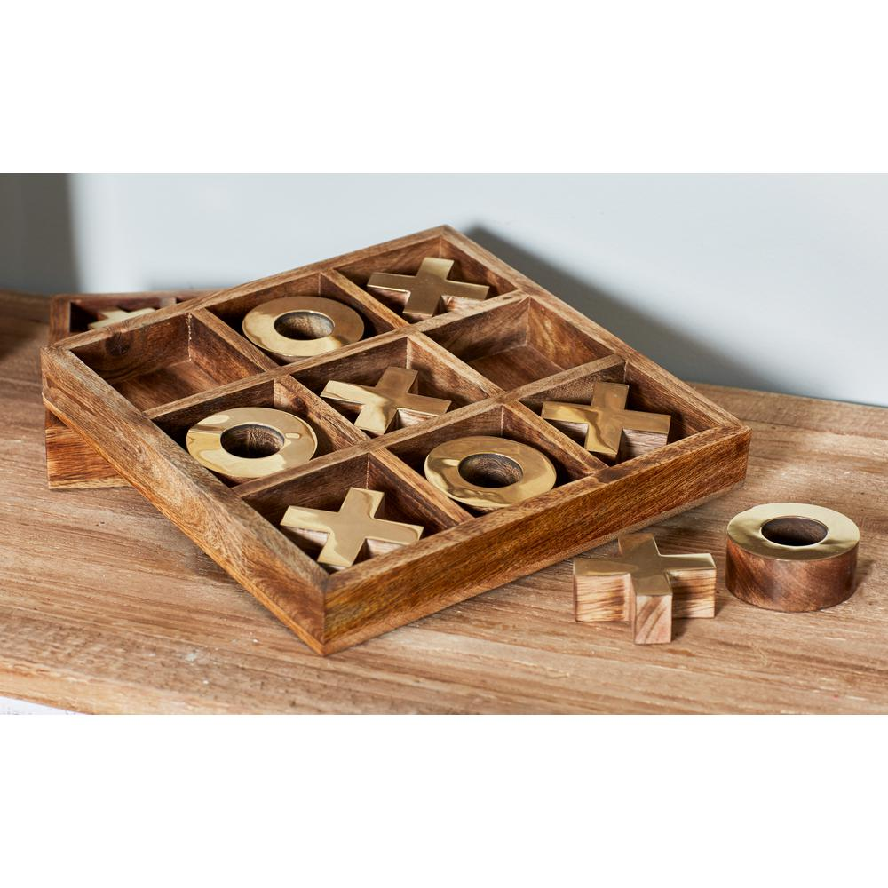 Litton Lane Brown And White Wood And Brass Tic Tac Toe Set 19109