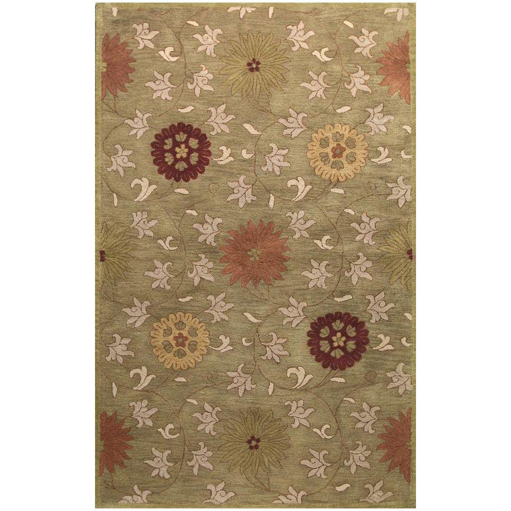BASHIAN Wilshire Collection Transitions Green 7 ft. 9 in. x 9 ft. 9 in. Area Rug