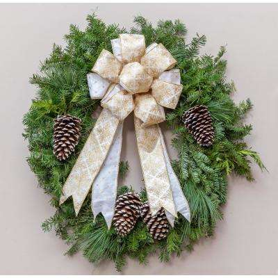24 in. Live Wreath, Fresh Cut Mixed Greens, Gold Double Bow and Frosted Pinecones