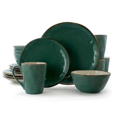 Caribbean Tide 16-Piece Rustic Green Stoneware Dinnerware Set (Service for 4)