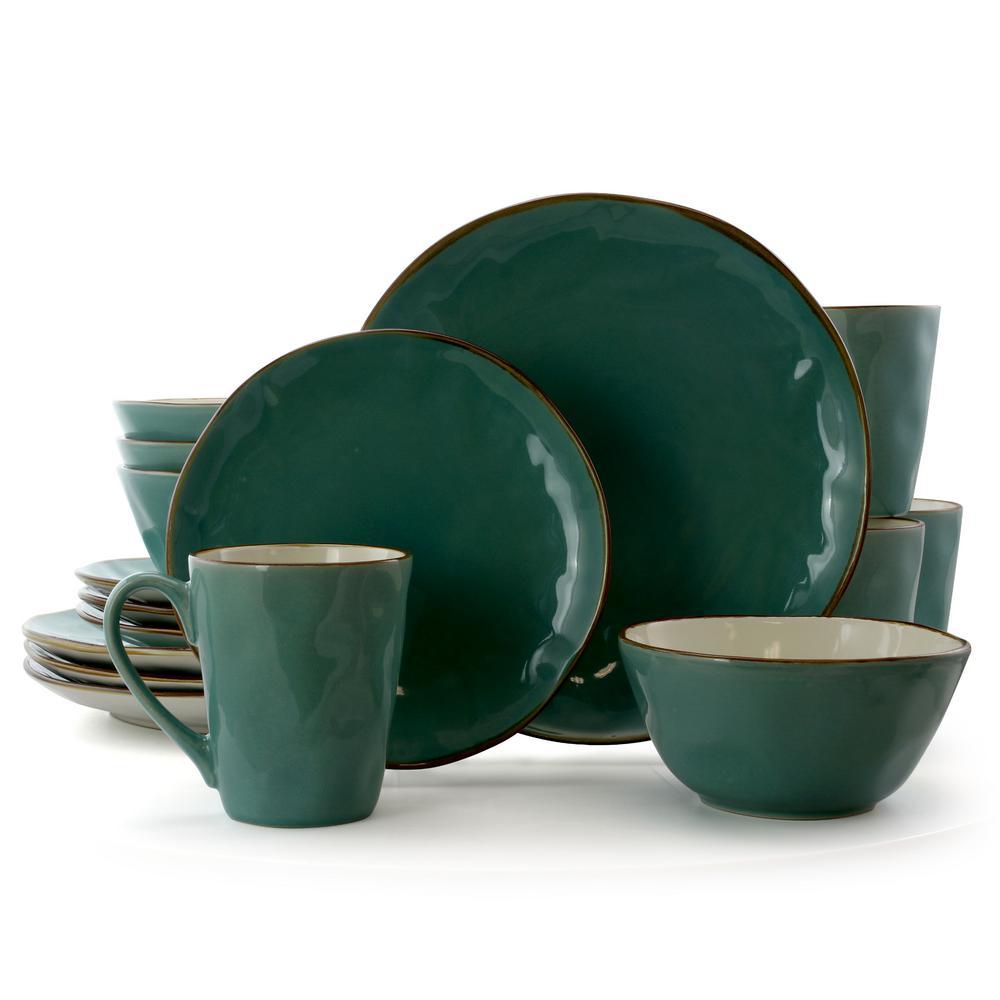 Caribbean Tide 16-Piece Green Round Stoneware Dinnerware Set (Service for 4)