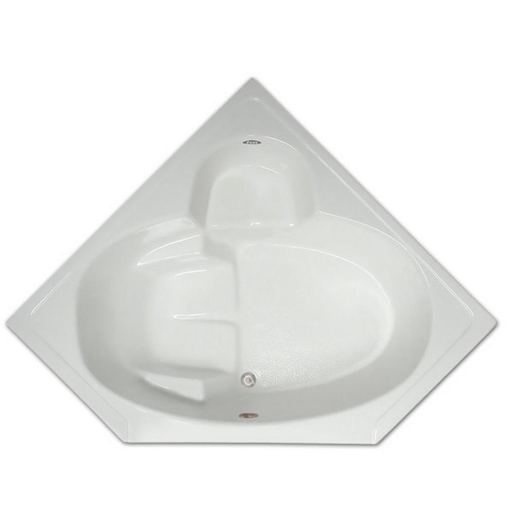 Corner Drop In Non Whirlpool Bathtub In White