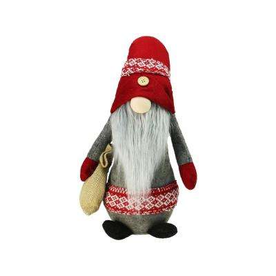 29.5 in. Plush Red and Gray Nordic Santa Christmas Gnome with Burlap Sack Tabletop Figure