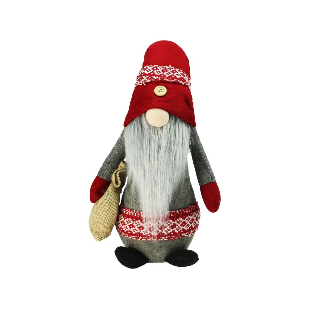 Christmas Gnomes.Northlight 29 5 In Plush Red And Gray Nordic Santa Christmas Gnome With Burlap Sack Tabletop Figure