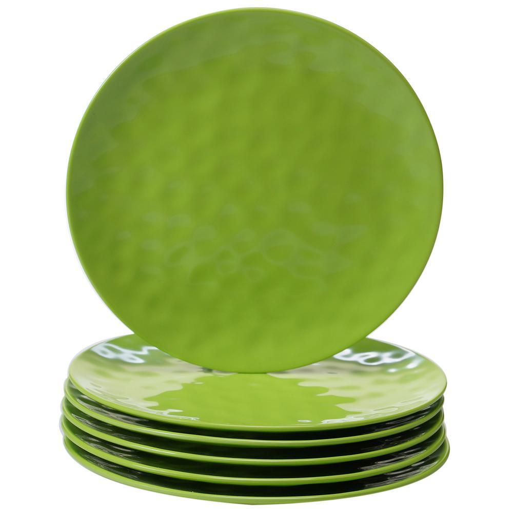 6-Piece Green Dinner Plate Set