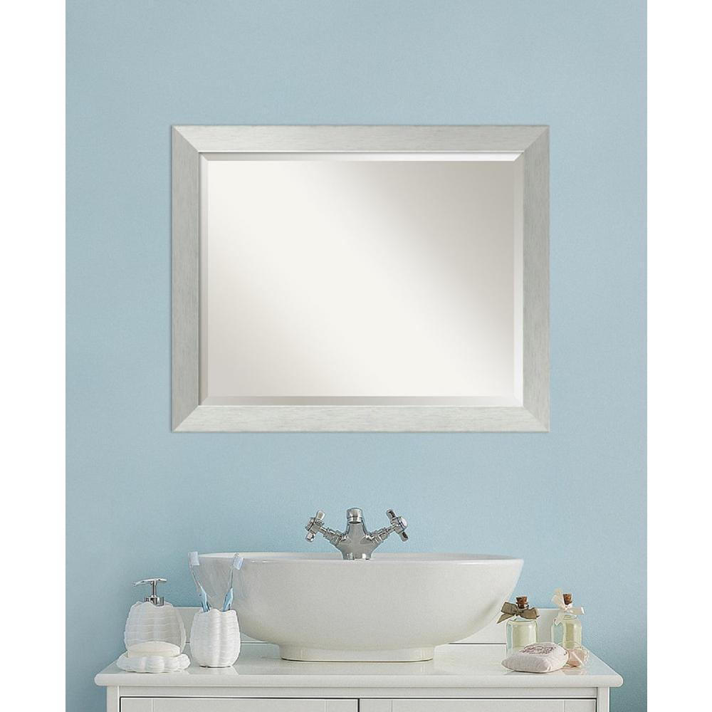 bathroom wall mounted mirrors simpli home chelsea 34 in l x 32 in w wall mounted decor 17143 | brushed silver amanti art mirrors dsw3572555 64 1000