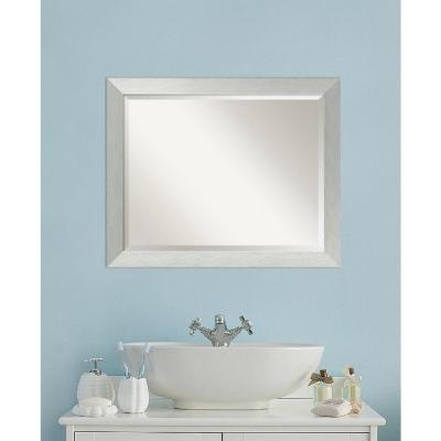 Brushed 32 in. W x 26 in. H Framed Rectangular Bathroom Vanity Mirror in Brushed Silver