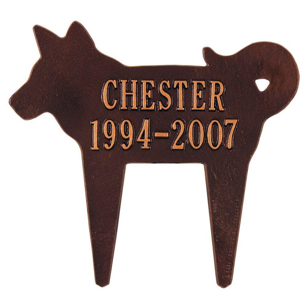 Antique Copper Two Line Lawn Silhouette Dog Marker