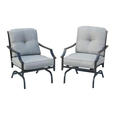 Rocking Metal Outdoor Dining Chair with Gray Cushions (2-Pack)