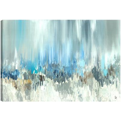 """30 in. x 40 in. """"Blue Visuals Abstract"""" by Sanjay Patel Printed Canvas Wall Art"""