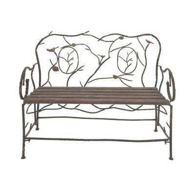 37 in. x 46 in. Rustic Iron and Wood Nature Bench