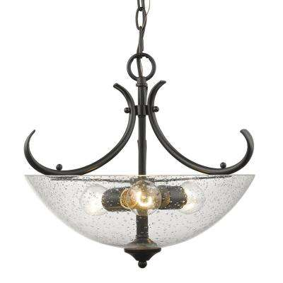 Parrish 3-Light Convertible Pendant in Black with Seeded Glass