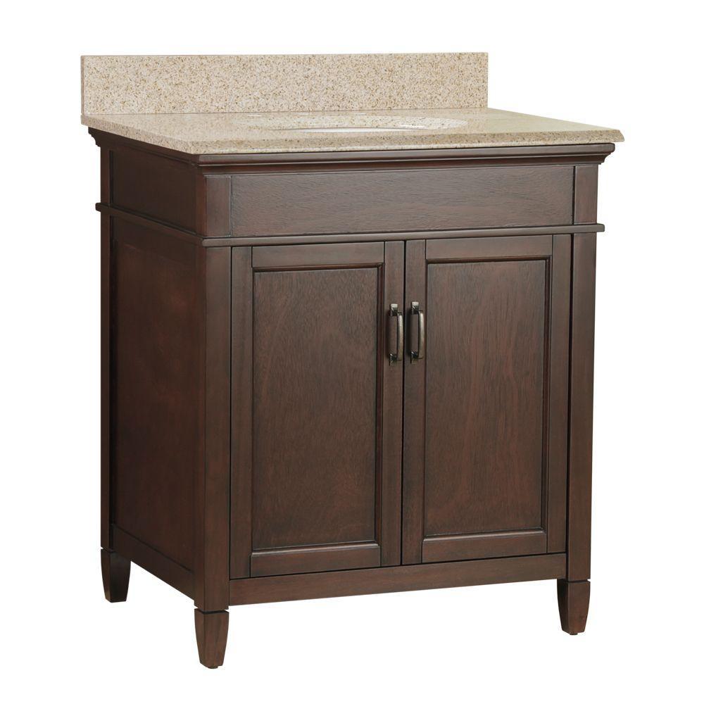 Foremost Ashburn 31 in. W x 22 in. D Bath Vanity in Mahogany with Granite Vanity Top in Beige