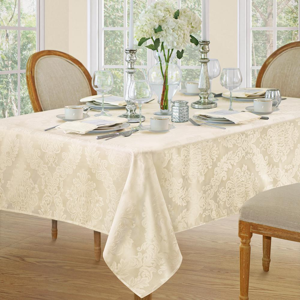 Remarkable 60 In W X 120 In L Antique Elrene Barcelona Damask Fabric Tablecloth Home Interior And Landscaping Ponolsignezvosmurscom