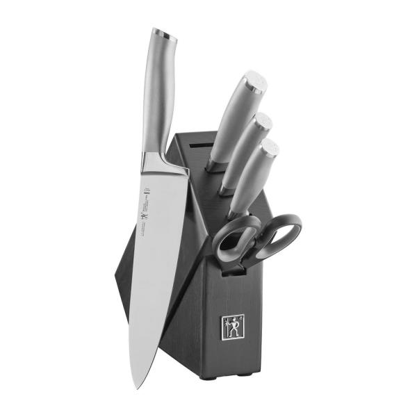 Modernist 6-Piece Stainless Steel German Studio Knife Block Set
