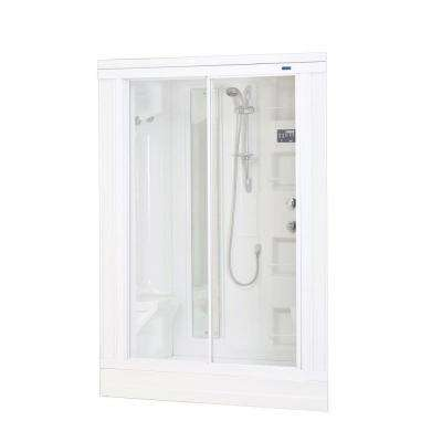 ZA205 59 in. x 31 in. x 85 in. Drop-In Steam Shower Enclosure Kit in White with 18 Body Jets