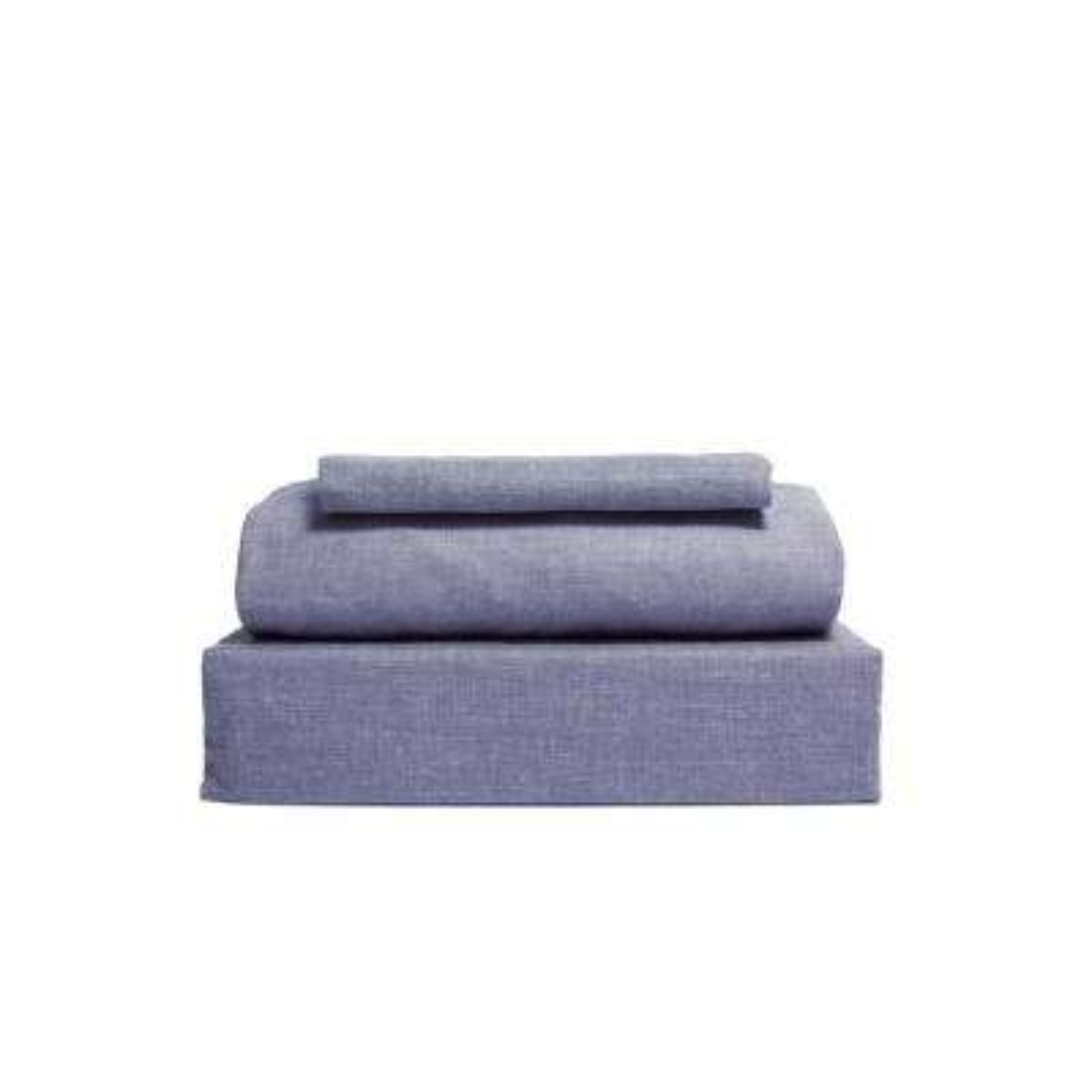 Chambray 3-Piece Denim Blue Cotton/Polyester Twin Sheet Set