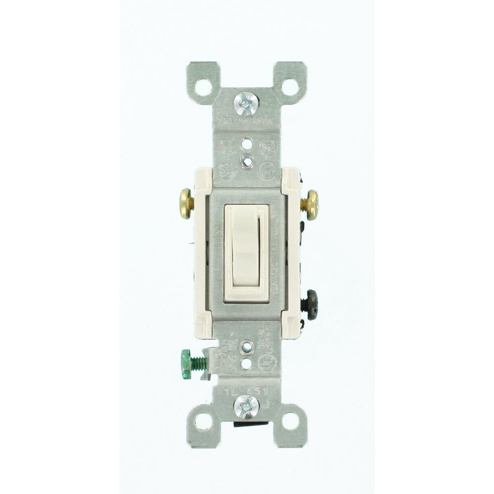 Leviton 15 Amp 3-Way Toggle Switch, White