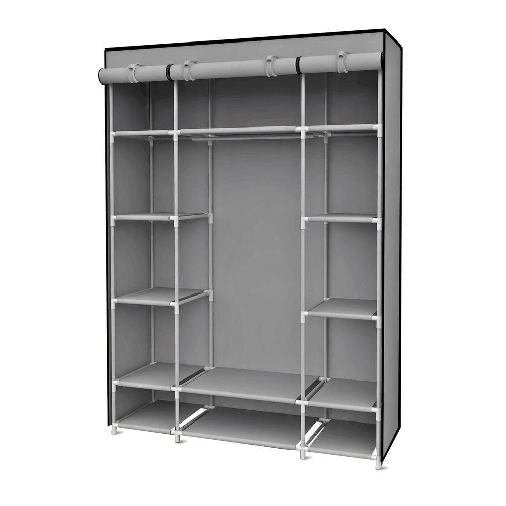 Gray Storage Closet Portable Wardrobe With Shelving