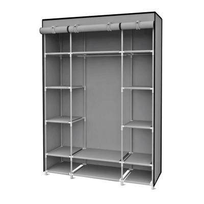 18 in. x 67 in. Gray Storage Closet Portable Wardrobe with Shelving