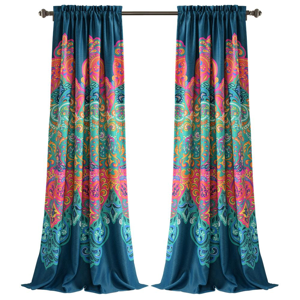 Gray Turquoise Curtain Boho Window Treatment Light Sari 108 96 84 inch for Bedroom Living room Dining room Yoga Studio Canopy Bed Tent Hippie Gypsy Bright Colorful Home Decor W Gift bag