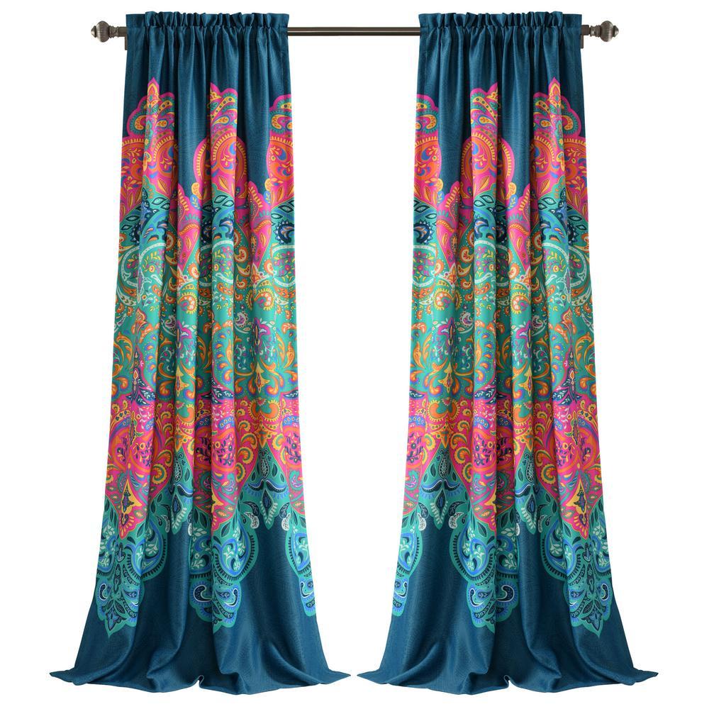 Boho Chic Room Darkening Window Curtain Panels Turquoise/Navy 52X84+2 Set