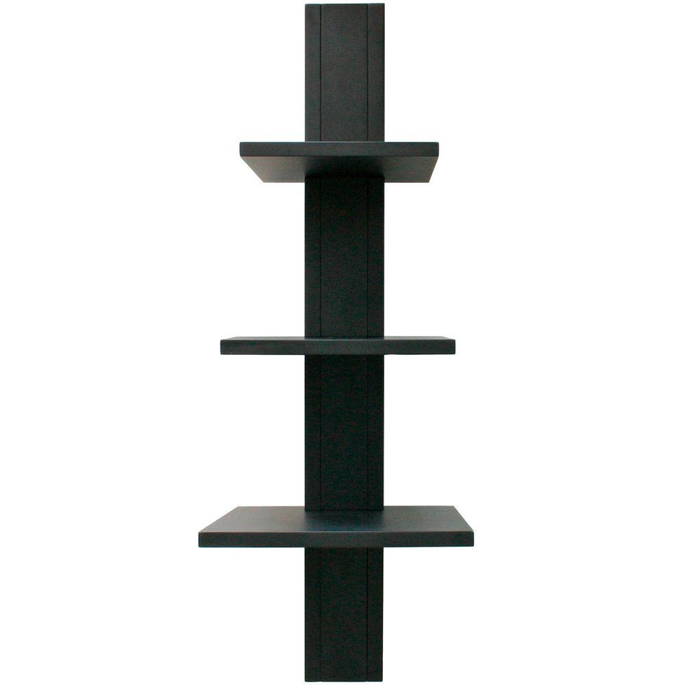 AZ Home and Gifts nexxt Alton 3-Tier 11.5 in. x 25.5 in. MDF Wall Shelf in Black